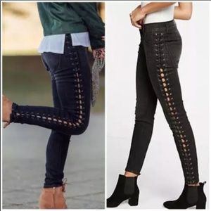 Express jeans high waisted lace-up black leggings